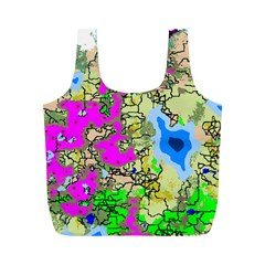 Painting Map Pink Green Blue Street Full Print Recycle Bags (m)