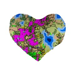 Painting Map Pink Green Blue Street Standard 16  Premium Flano Heart Shape Cushions