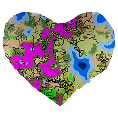 Painting Map Pink Green Blue Street Large 19  Premium Flano Heart Shape Cushions