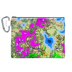 Painting Map Pink Green Blue Street Canvas Cosmetic Bag (xl)