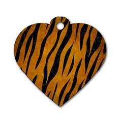 Skin3 Black Marble & Yellow Grunge Dog Tag Heart (two Sides)