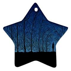 Forest Tree Night Blue Black Man Ornament (star)
