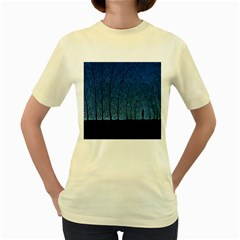 Forest Tree Night Blue Black Man Women s Yellow T Shirt