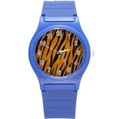 Skin3 Black Marble & Yellow Grunge Round Plastic Sport Watch (s)