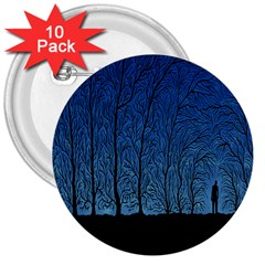 Forest Tree Night Blue Black Man 3  Buttons (10 Pack)