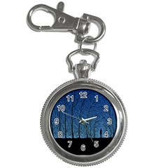Forest Tree Night Blue Black Man Key Chain Watches