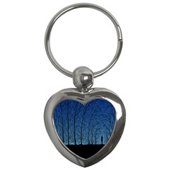 Forest Tree Night Blue Black Man Key Chains (heart)