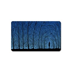 Forest Tree Night Blue Black Man Magnet (name Card)