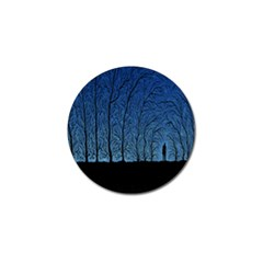 Forest Tree Night Blue Black Man Golf Ball Marker (4 Pack)