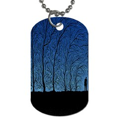 Forest Tree Night Blue Black Man Dog Tag (two Sides)