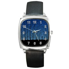 Forest Tree Night Blue Black Man Square Metal Watch
