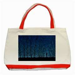 Forest Tree Night Blue Black Man Classic Tote Bag (red)