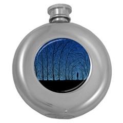 Forest Tree Night Blue Black Man Round Hip Flask (5 Oz)