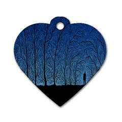 Forest Tree Night Blue Black Man Dog Tag Heart (two Sides)