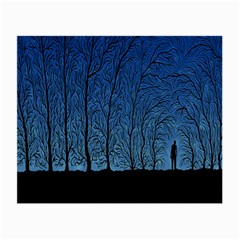 Forest Tree Night Blue Black Man Small Glasses Cloth (2 Side)