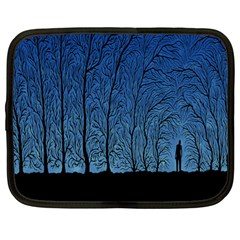 Forest Tree Night Blue Black Man Netbook Case (large)