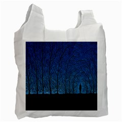 Forest Tree Night Blue Black Man Recycle Bag (two Side)