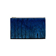 Forest Tree Night Blue Black Man Cosmetic Bag (small)
