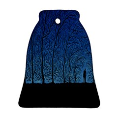 Forest Tree Night Blue Black Man Bell Ornament (two Sides)