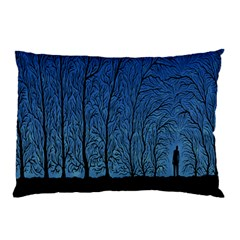 Forest Tree Night Blue Black Man Pillow Case (two Sides)