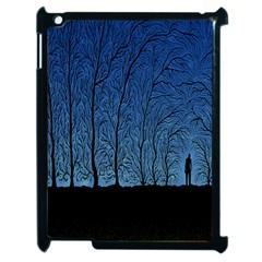 Forest Tree Night Blue Black Man Apple Ipad 2 Case (black)