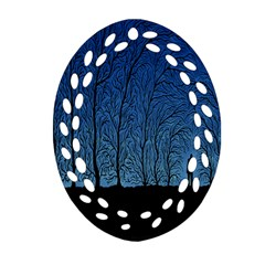 Forest Tree Night Blue Black Man Oval Filigree Ornament (two Sides)