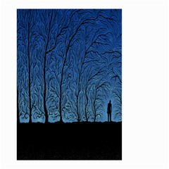 Forest Tree Night Blue Black Man Small Garden Flag (two Sides)