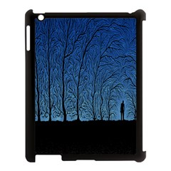 Forest Tree Night Blue Black Man Apple Ipad 3/4 Case (black)