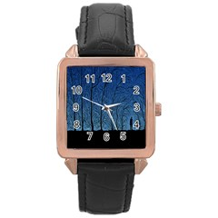 Forest Tree Night Blue Black Man Rose Gold Leather Watch