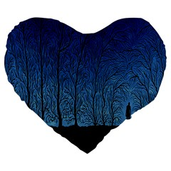 Forest Tree Night Blue Black Man Large 19  Premium Flano Heart Shape Cushions
