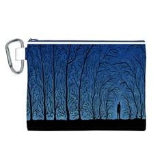 Forest Tree Night Blue Black Man Canvas Cosmetic Bag (l)