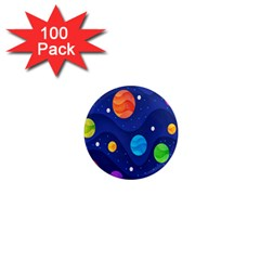 Planet Space Moon Galaxy Sky Blue Polka 1  Mini Magnets (100 Pack)