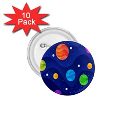 Planet Space Moon Galaxy Sky Blue Polka 1 75  Buttons (10 Pack)