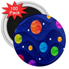 Planet Space Moon Galaxy Sky Blue Polka 3  Magnets (100 Pack)