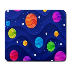 Planet Space Moon Galaxy Sky Blue Polka Large Mousepads