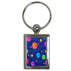 Planet Space Moon Galaxy Sky Blue Polka Key Chains (rectangle)