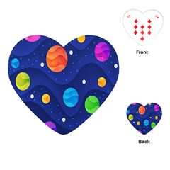 Planet Space Moon Galaxy Sky Blue Polka Playing Cards (heart)