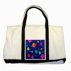 Planet Space Moon Galaxy Sky Blue Polka Two Tone Tote Bag