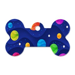 Planet Space Moon Galaxy Sky Blue Polka Dog Tag Bone (two Sides)