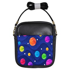 Planet Space Moon Galaxy Sky Blue Polka Girls Sling Bags