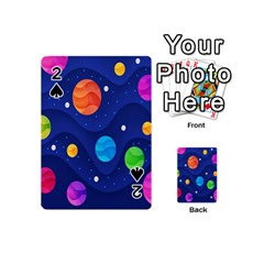 Planet Space Moon Galaxy Sky Blue Polka Playing Cards 54 (mini)