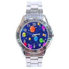 Planet Space Moon Galaxy Sky Blue Polka Stainless Steel Analogue Watch