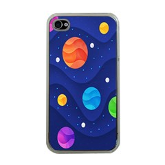 Planet Space Moon Galaxy Sky Blue Polka Apple Iphone 4 Case (clear)