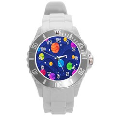 Planet Space Moon Galaxy Sky Blue Polka Round Plastic Sport Watch (l)