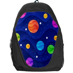Planet Space Moon Galaxy Sky Blue Polka Backpack Bag