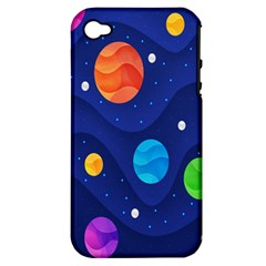 Planet Space Moon Galaxy Sky Blue Polka Apple Iphone 4/4s Hardshell Case (pc+silicone)