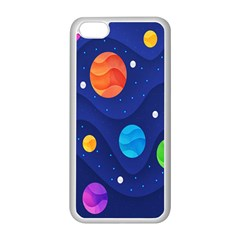 Planet Space Moon Galaxy Sky Blue Polka Apple Iphone 5c Seamless Case (white)