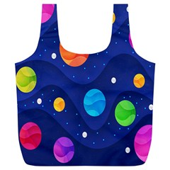 Planet Space Moon Galaxy Sky Blue Polka Full Print Recycle Bags (l)