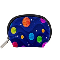 Planet Space Moon Galaxy Sky Blue Polka Accessory Pouches (small)