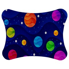 Planet Space Moon Galaxy Sky Blue Polka Jigsaw Puzzle Photo Stand (bow)